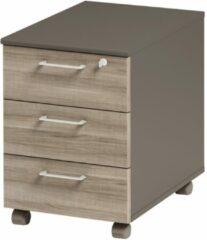 Gamillo Furniture Ladeblok Jazz 2 van 60 cm hoog in grijs eiken met grijs