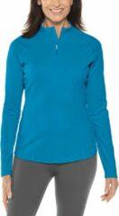 Blauwgroene Coolibar - UV Zwemshirt voor dames - Longsleeve - Freestyle Rash - Teal - maat S