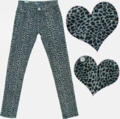 Merkloos / Sans marque Meisjesbroek jeans panterprint grijs maat 116/122