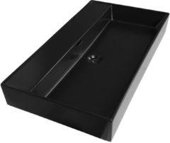 Saniclass Legend 80 wastafel met 1 kraangat 80.5x46.5x13 keramiek mat zwart 2223