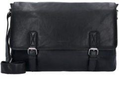 Green Burry Greenburry Oily Tumbled Messenger Bag Aktentasche Leder 41 cm Laptopfach black