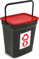 Plast Team Kunststof afvalbak met deksel 10L Afvalscheidingssysteem Recycling Prullenbak Afvalopvangbak - Rood
