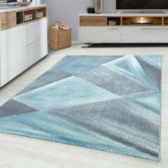Blauwe Ayyildiz Beta Vloerkleed Grijs / Roze Laagpolig - 160x230 CM