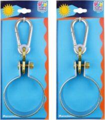 Happy People 2x Schommelhaken met bevestigingsring en karabijnhaak - diameter bevestigingsring 10 cm - voor ophangen en bevestigen van schommels / voorwerpen - schommelhaken / karabijnhaken
