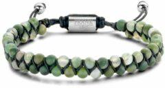 Frank 1967 7FB 0476 Armand Heren - Groen agaat - 4mm - beads - Gevlochten - Element - verstelbaar - Staalkleurig