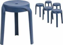 DC Interior Set van 6 krukken design met poten metaal donkerblauw