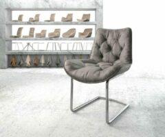 Zilveren DELIFE Stoel Taimi-Flex sledemodel rond verchroomd vintage grijs