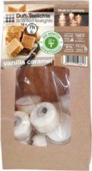 Witte Enlightening Candles 18x Geurtheelichtjes vanille/karamel 7 branduren - Geurkaarsen vanillegeur/karamelgeur - Waxinelichtjes - Eco/milieubewuste kaarsjes