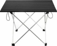 Eigen merk outdoor Pratsj! Inklapbare tafel - opvouwbaar - campingtafel - kampeertafel - picknicktafel - hengelsport - ultralicht - mat zwart/zilver - aluminium - 56x40,5x40,5 cm