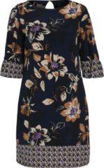 Paprika gebloemde jurk donkerblauw lila bruin