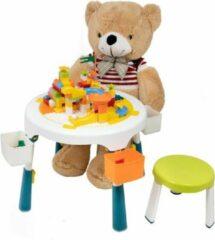 Groene Decopatent® - Speeltafel met bouwplaat (geschikt voor Duplo® blokken) en vlakke kant. Fijne kindertafel met 2 stoelen - Bouwtafel