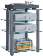 Hifi Möbel Rack Phono Turm Medienrack Medienmöbel Regal Tisch Alu Glas 'Bilus' VCM Klarglas