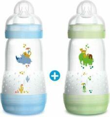 Blauwe MAM Anti-Colic Easy Start-fles - 260 ml - 0 tot 6 maanden - Flow speen 2 - verpakking van 2 - Boy