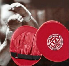 2X Bokshandschoenen Pads voor Muay Thai   Kick Boxing MMA Training   PU Schuim   Boxen   Bokspads   stootkussens   sparren  Thai boxing   Rood -New Age Devi