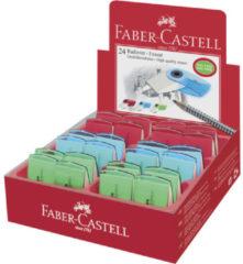 Faber Castell Gum FC Sleeve mini transparant rood, groen, blauw assorti in displaydoos