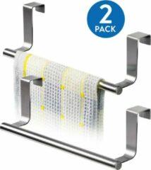 Zilveren Tatkraft HORIZON - RVS Kastdeur Handdoekrek - Keukenkast Deur Handdoek/Vaatdoek Houder Rek Stang Hanger - Towel Rack Kast Deurhanger Deurhaak Keuken - 23CM - Set Van 2 Stuks