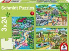 Schmidt Spiele GmbH Een dagje dierentuin, 3 x 24 stukjes Puzzel