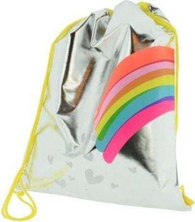 """Afbeelding van Kangaro Sporttas Funtastic - Zilverkleurig sporttasje """"Rainbow"""" - met nylon trekkoorden - 35x45 cm"""