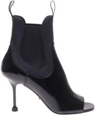 Nero Stivali In Vera Pelle Verniciata Con Fasce In Tessuto Tecnico Stretch A Calza E Logo Prada