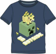 Minecraft t-shirt korte mouw - blauw - maat 116 / 6 jaar