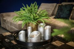Zandkleurige PTMD COLLECTION PTMD LED Light Candle metallic taupe moveable flame XS