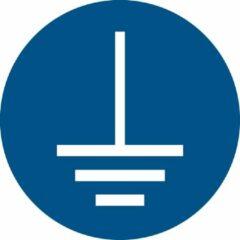Blauwe Tarifold Pictogram bordje Aarding verplicht | Ø 100 mm - verpakt per 2 stuks
