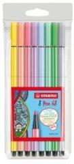 Nikon Stabilo viltstift Pen 68, etui met 8 stuks in geassorteerde pastel kleuren