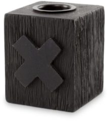 Zwarte Vtwonen Candle Block Cross Wood Black 5x5x6cm