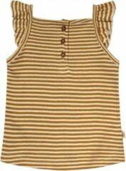 Your Wishes topje Gold Stripes - Ruffle Singlet - Gestreepte Top Meisje - Okergeel 74/80