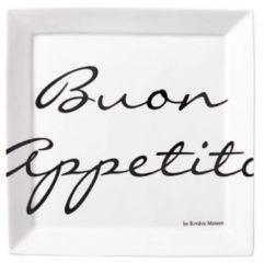 Witte Riviera Maison ontbijtbord Buon Appetito (Ø22 cm) (set van 2)