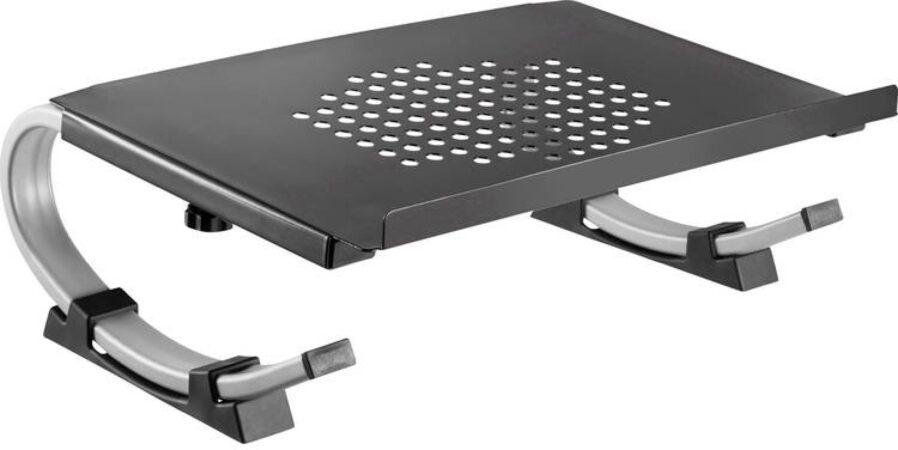 Afbeelding van TG® Opvouwbare monitorstandaard | + telefoon en tablet houder + schuif lade | sterk en robuust | monitor scherm laptop stand standaard verhoging zwart
