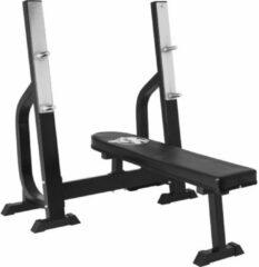 Donkergrijze Gorilla Sports Vlakke Halterbank - Fitnessbank - Belastbaar tot 250 kg - Zwart