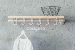 Zilveren Design85 - Kapstok Basic 70 cm - Steigerbuis - Steigerhouten legplak - 6 haken