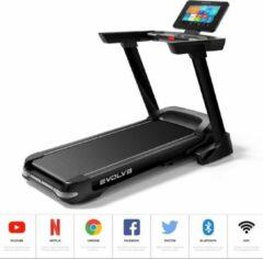 Grijze Evolve Fitness HT350TFT - Loopband - Professioneel fitnessapparaat met luxe TFT scherm - WiFi Entertainment Console - Inklapbaar - Elektrische Incline - 14 programma's - BlueTooth HiFi Speakers - MP3 ingang - Hydraulische uitklap - Max. 4.5pk motor