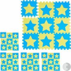 Blauwe Relaxdays 45 x puzzelmat ster - speelmat - speelkleed - vloerpuzzel - speeltapijt – kinder