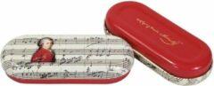 Rode Fridolin Brillenkoker Componist Mozart met print van bladmuziek