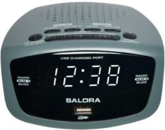 Grijze Salora CR627usb Digitale wekker - FM klokradio - LED display - USB