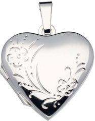 Zilveren Classics&More medaillon - zilver - hart - glanzend - bloemmotief - 23 x 21 mm