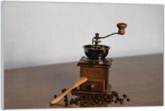 Bruine KuijsFotoprint Plexiglas –Oude Koffiemaler met Koffiebonen – 120x80 (Wanddecoratie op Plexiglas)