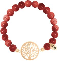 CO88 Collection Beloved 8CB 80017 Rekarmband met Stalen Elementen - Levensboom - Agaat Natuursteen 8 mm - One-size - Rood