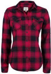 Brandit Amy Flannel Checkshirt Camicia donna nero/rosso