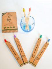 Blauwe Tiny Panda 4+2 Bamboe kinder tandenborstels - Emoji - Bamboo Kids Toothbrush - Zero Waste - Vegan