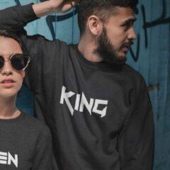 Zwarte B&C Collection King & Queen Tuff Trui (King - Maat XXL)