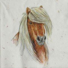 Bruine Ihr Servetten Farmfriends Horse 33 x 33 cm