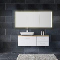 Witte Diamond Line Spiegelkast Quatro 160x70x13cm Aluminium Geintegreerde LED Verlichting Sensor Lichtschakelaar Stopcontact Glazen Planken