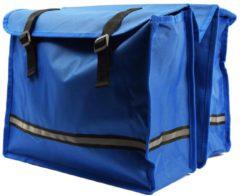 Discountershop Dubbele Fietstas waterdicht met reflecterende strepen voor extra veiligheid- Fietstas blauw 36x30x12cm