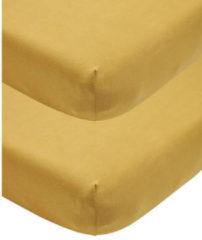 Gouden Meyco katoenen jersey hoeslaken wieg - set van 2 40x80/90 honey gold