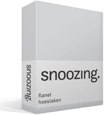 Afbeelding van Snoozing flanel hoeslaken - 100% geruwde flanel-katoen - Lits-jumeaux (180x200 cm) - Grijs