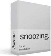 Snoozing Flanel Hoeslaken - 100% Geruwde Flanel-katoen - Lits-jumeaux (180x200 Cm) - Grijs