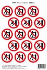 Rode Stickerkoning Pictogram sticker P017 - Duwen verboden - Ø 50mm - 15 stickers op 1 vel